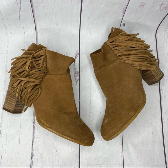 Crown Vintage Randi Fringe Booties Suede 9